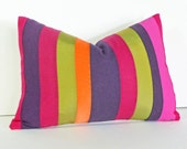Bright Color Block Pillows, Colorful Throw Pillow Covers, Striped, Color Blocked, Fushia, Orange, Purple,  Boho Chic, Oblong 14x20