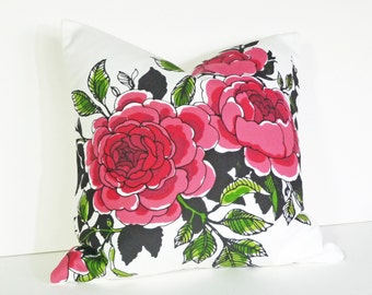 Romantic Floral Pillow, Large Flowers, Black White Pink Red Roses, Decorative Pillow Cover, Country Chic Pillows,  20x20,  SALE