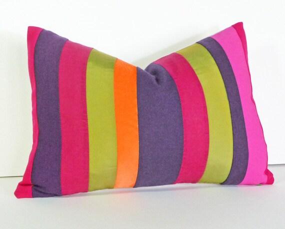 Bright Color Block Pillows, Colorful Throw Pillow Covers, Striped, Color Blocked, Fushia, Orange, Purple,  Boho Chic, Oblong 14x20