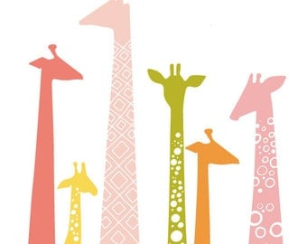 "11X14"" giraffe silhouettes giclée print on fine art paper. pink, orange, green, yellow"