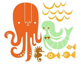 """8X10"""" octopus garden giclee print on fine art paper. orange, mint, brown, schoolbus yellow."""