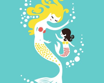 """8X10"""" mermaid mother & daughter. giclee print on fine art paper. turquoise/teal, pink, yellow blonde and black hair."""