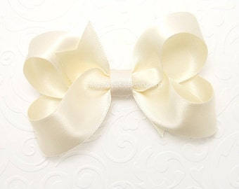 Ivory Satin Hair Bow, 3 inch Bow, Ivory Satin Bow for Flower Girls, Ivory Christening Bow, Special Occasion Satin Boutique Bow