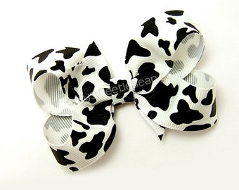 Holstein Cow Boutique Bow, 3 inch Hair Bow, Animal Print, Black and White Cow Print, Cow Hair Bow for Girls, Baby, Toddler