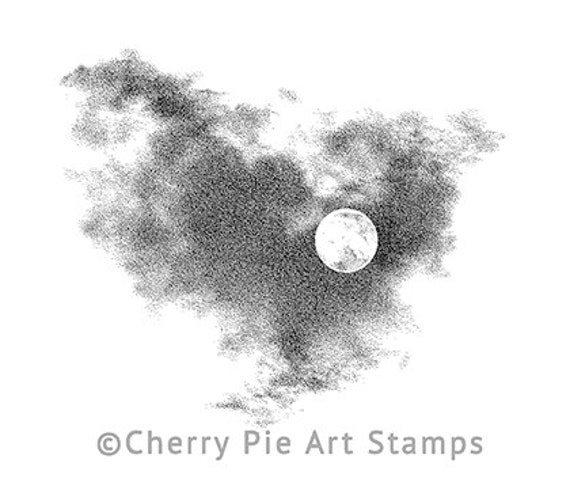 Full MOON and clouds- CLING RuBBer STAMP by Cherry Pie Art Stamps