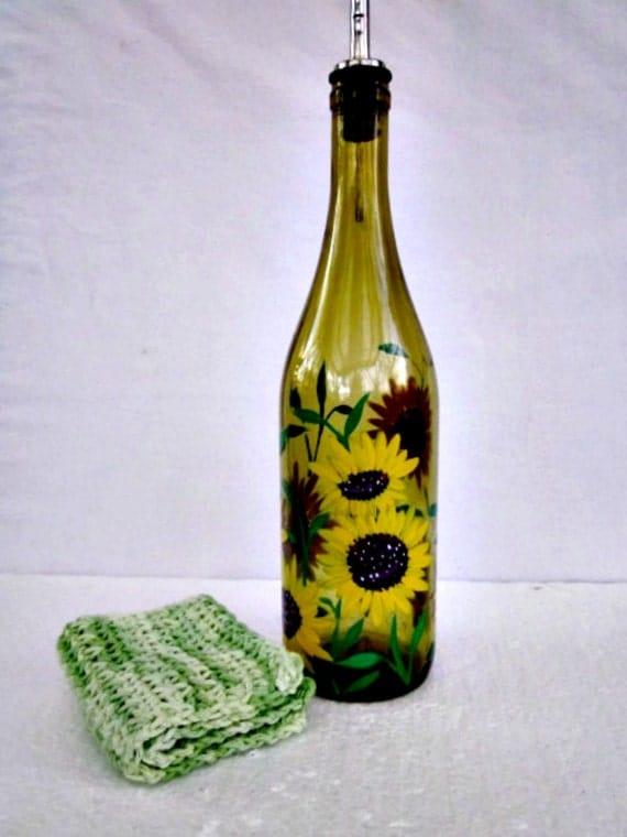 Wine Bottle Dish Soap Dispenser Light Green By Glassgaloregal