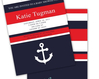 NAUTICAL Red White and Blue ANCHOR Printable Party Invitation Printing Available