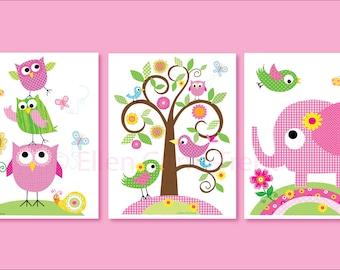 baby girl nursery art-Kids Wall Art-Girl animals set- Nursery Decor