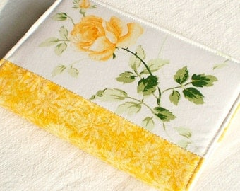Fabric Journal Cover - Yellow Rose - Fabric A6 Notebook, Diary with Yellow Flowers and Green Leaves on White