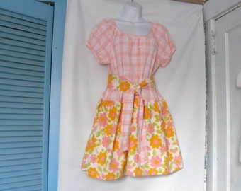 Reconstructed - Upcycled Peasant style  Dress Size Medium