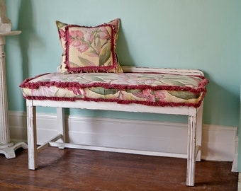 vintage bench shabby chic white distressed barkcloth fabric pink yellow and pillow