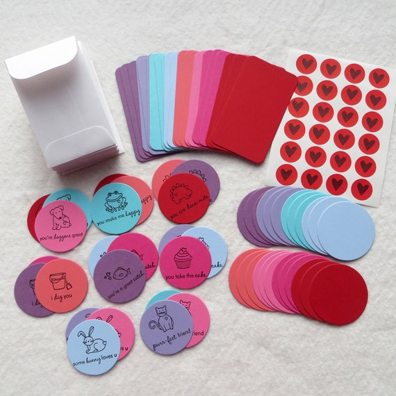 DIY Valentine Card Kit - Makes 24 Mini Cards with Envelopes - Valentine Party Card Kit