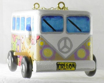 Tan VW Birdhouse Hippy Wagon, Handcrafted and Hand Painted