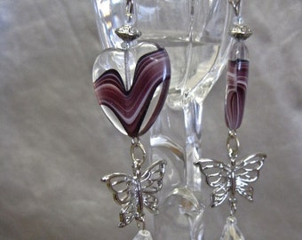 I Heart Butterflies: Heart Earrings with Butterfly Dangles Romantic Lavender Purple Clear Aurora Crystal Drops