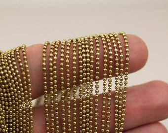 Brass Ball Chain, 5 Meters - 16.5 Feet (1.5mm) Raw Brass Ball Chain - Brs 3  ( Z019 )