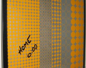Tangerine Dot .. Magnet Dry Erase Steel Memo Board / Housewarming Friend Gift / Office Decor / Organization / Wall Decor / desk /