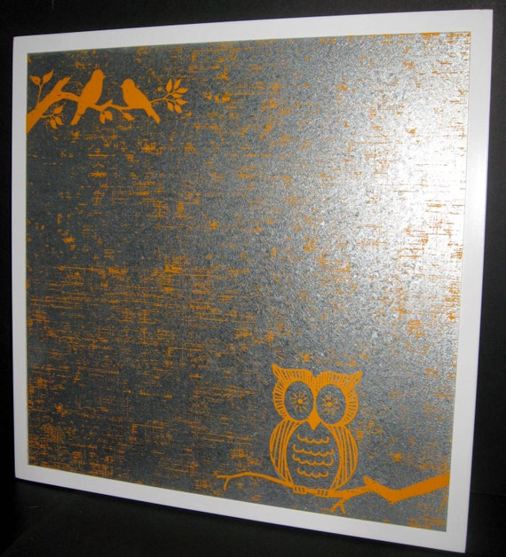 Orange Owl ..Magnet Dry Erase Steel Memo Board / Housewarming Gift / Office Decor / Organization / Desk / Coworker Gift / Message Board