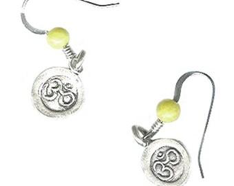 tiny Yoga earrings 10mm sterling silver Om Aum 4mm gemstone