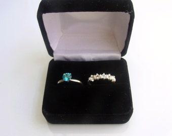Black Velour Double Ring Box
