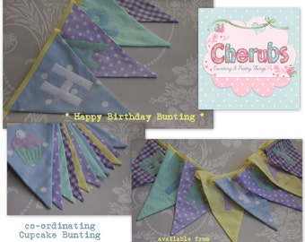 Happy Birthday Cupcake Banner Bunting Set Mint Green, Lemon, Lilac and Blue Birthday Party Celebration or Photo prop Custom Made to orde
