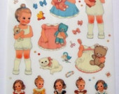 Cute Girl Plastic Stickers From Korea - Dresses, Clothes, Shoes, Bow, Ribbon, Dog, Puppy, Teddy Bear, Glasses, Book, Cat, Kitten, Hairbrush