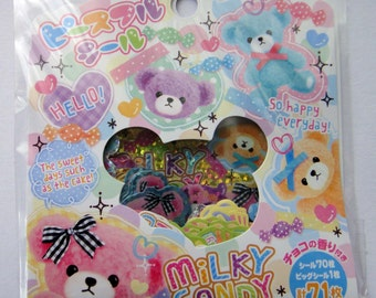 Cute Teddy Bear Japanese Sticker Flakes Set - Pink, Purple, Blue, Yellow Teddies - Hearts, Sweets, Candy, Ribbon, Bows