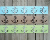 5 anchor wall hooks, sailor, boat, lake cabin, beach decor, distressed cottage chic, wooden coat rack, beach towel holder