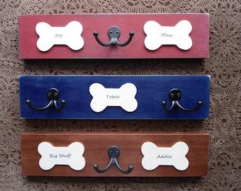 personalized pet lovers gift, leash hooks, dog bone hook board, hanger, pups' names double hook