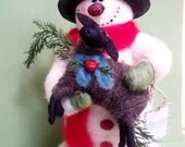 """Max and Mr. Black Sheep Felted Wool Snowman 11""""-12"""""""