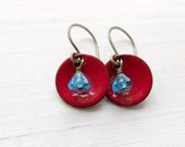 Dangle Earrings, Scarlet Red Enamel And Aqua Blue Flowers, Copper And Brass - Flora