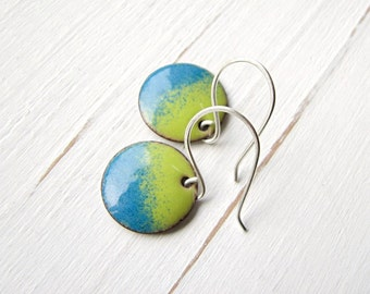 Green and Blue Earrings, Handmade Enamel Jewelry, Copper and Sterling Silver