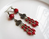 Free shipping Red jade faceted beads chandelier antique gold  brass dangle earrings