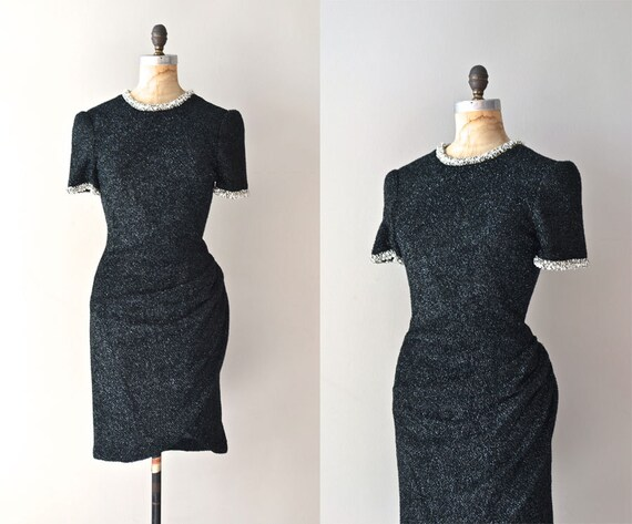 vintage knit dress / black cocktail dress / Southfork dress