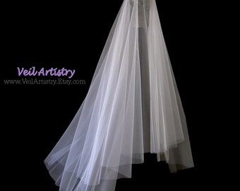 Long Wedding Veil Simplicity Drop 2 Tier Bridal Sweep