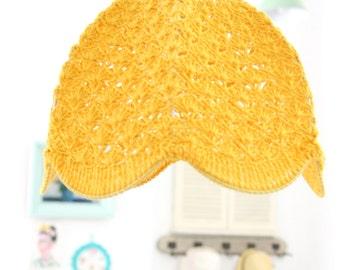 crochet lampshade - Mustard