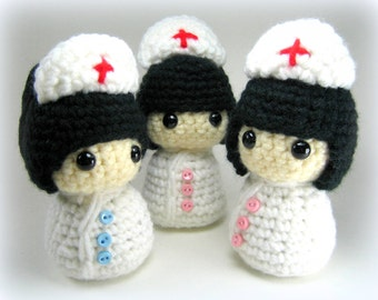 Nurse Kokeshi Doll Amigurumi Crochet Pattern PDF file