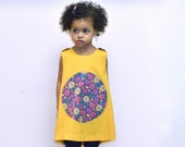 The Matilda Dress - Organic Girls Dress - Eco Friendly Spring Pinafore in Yellow Gold with Purple Garden Flowers