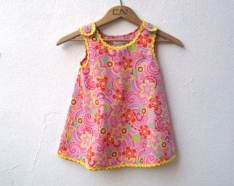 The Meadow Dress- Organic Pink Girls Dress with Yellow Rick Rac - Eco Friendly, Kids, Modern (Made To Measure)