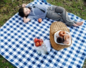 ORGANIC Picnic Blanket, Waterproof Picnic Blanket, Blue Gingham, Eco Friendly, Personalized (SewnNatural exclusive)