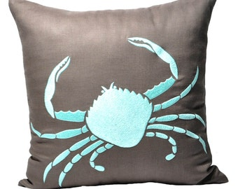 Crab Pillow Cover, Sea Life Pillow, Taupe Brown Linen Pillow Turquoise Crab Embroidery, Nautical Decor, Cottage beach decor, Coastal Pillow