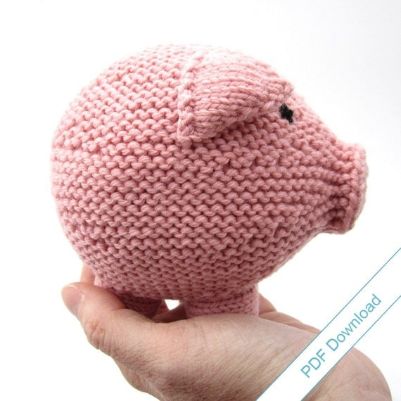 Knitting Toys In The Round : Knitting pattern toy pig pdf knit your own hog by nattyknits