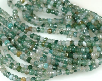 SALE MOSS AGATE Faceted 4mm Rondelle Beads Translucent Green moss agate Full Strand
