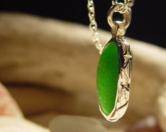 Fused Ocean Green Sea Glass Pendant