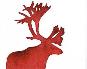 Garnet Caribou Silhouette Watercolor - Alizarin Madder Ombre, 5 x 7