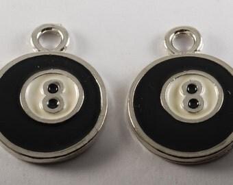 Vintage Pair 8 Ball Pool Pendants Silver Plated Metal Enamel Charms Jewelry Making