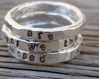Custom hand stamped Stacking ring, ONE custom fine silver stackable ring, jewelry Christmas gift wedding band gift for her ring for mom