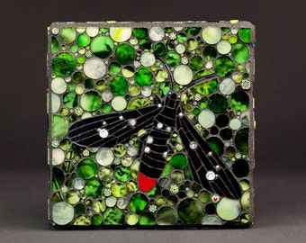 Oleander Moth in the Garden Mosaic Art Wall Hanging