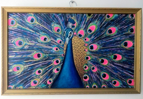 Golden Peacock - An original framed painting by Jo Conlon