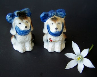 Vintage Dog Salt and Pepper Shakers Mugsy Tooth-ache Puppy Hush Puppy Figurines Japan Novelty Shakers