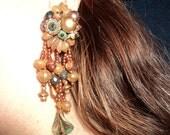 vintage clipon dangly brown bead steampunk earrings